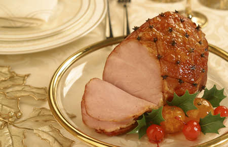 Traditional Brazilian Christmas dish: Smoked Glazed Ham with Cloves