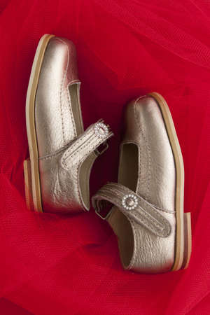 Girls golden pair of dress shoes on a red background