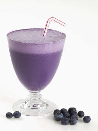 Blueberry smoothie on white background Stock Photo