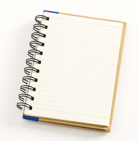 Small notebook isolated on white background, double spiral binding