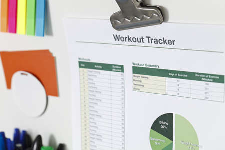 Printout of a workout tracker spreadsheet Stock Photo - 9633558