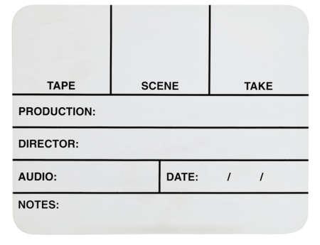 Blank white acrylic basic video slate isolated on white Stock Photo