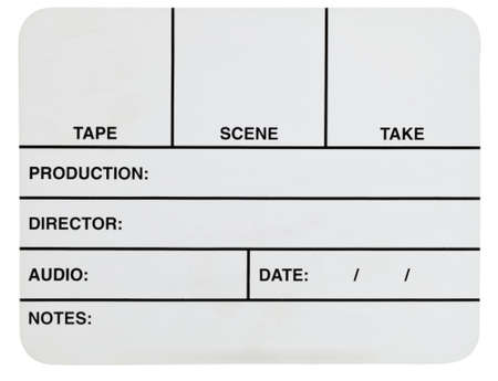 Blank white acrylic basic video slate isolated on white Stock Photo