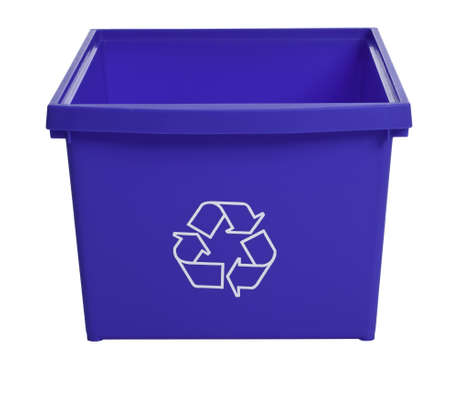 Blue recycling bin isolated on white background Stock Photo
