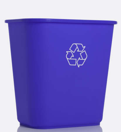 Tall blue recycling bin. Stock Photo