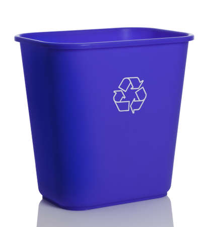Tall blue recycling bin isolated on white background.
