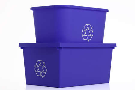 Two recycling bins isolated on white background. Stock Photo