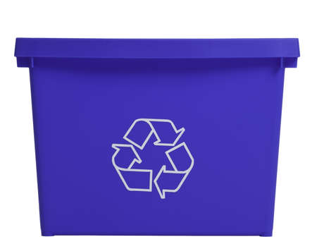 Blue  recycling bin isolated on white background.