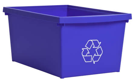 Blue recycling bin isolated on white photo