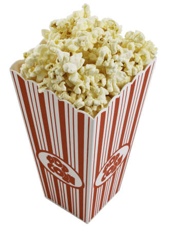 Top view of movie style popcorn box isolated on white background.