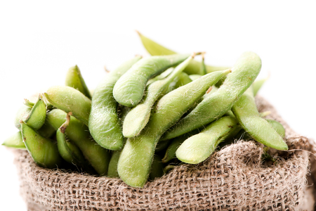 pigeon pea: Green soybean, the pigeon pea or genus Cajanus. Stock Photo