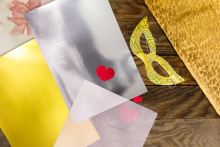 velvet dress: The Items for needlework on the wooden table