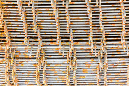 construction mesh: pack of steel wire mesh for construction Stock Photo