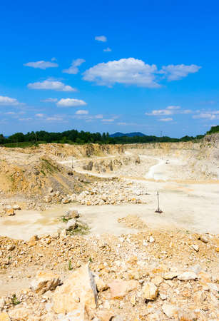 calcareous: the blue sky over calcareous stone quarries in summertime