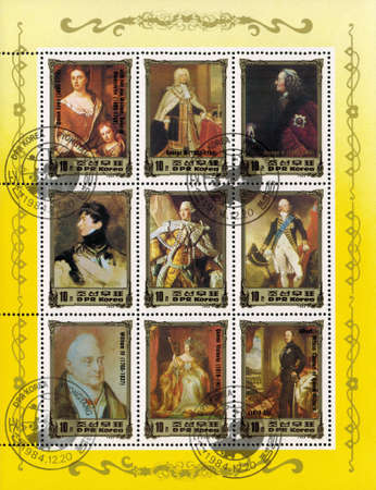 queen victoria: postage stamp DPR KOREA - CIRCA 1984: mail stamp printed in DPR Korea featuring British monarchical dynasty of 16-17 centuries: Queen Anne, George II, George IV, George III, William III, William IV, Queen Victoria, Albert Prince Consort of Queen Victoria Editorial