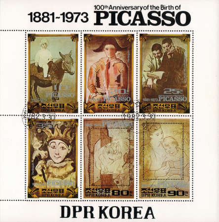 pablo picasso: postage stamp DPR KOREA - CIRCA 1982: mail stamp printed in DPR Korea To the 100 anniversary since the birth of Pablo Picasso souvenir sheet, se-tenant of six stamps with reproductions of paintings: a harlequin, a Mother and child, Paulo on a donkey and