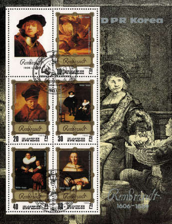weigher: postage stamp DPR KOREA - CIRCA 1983: mail stamp printed in DPR Korea featuring Rembrandt van Rijn. A reproduction of his self portrait and other famous works, on the background of engraving weigher gold, circa 1983