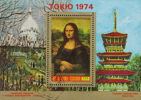 mona lisa: postage stamp REPUBLIC OF EQUATORIAL GUINEA - CIRCA 1974: mail stamp printed in Republic of Equatorial Guinea souvenir sheet, a reproduction of Leonardo da Vincis Mona Lisa on the background of the work of French painter Maurice Utrillo, circa 1974 Editorial