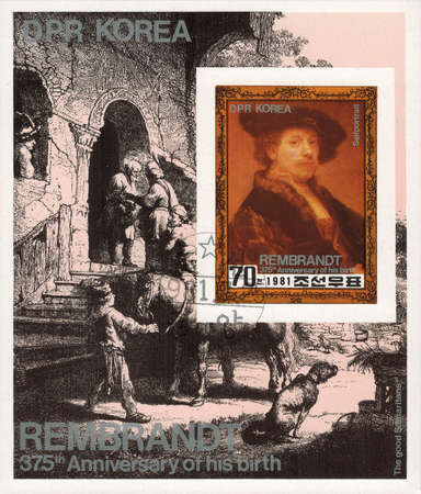 good samaritan: postage stamp DPR KOREA - CIRCA 1981: post block without perforation printed in DPR Korea featuring to 375th anniversary of  birth Rembrandt van Rijn. Self-portrait on the background of engraving the Good Samaritan, circa 1981 Editorial
