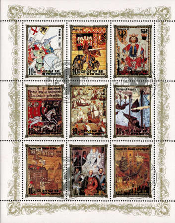 monarchy: postage stamp DPR KOREA - CIRCA 1984: mail stamp printed in DPR Korea featuring German monarchy: Conrad III, Henry VIII, Henry VI, King Johann, Elizabeth I, Charles VII and other antique reproduction