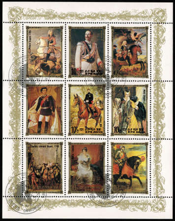 the monarchy: postage stamp DPR KOREA - CIRCA 1984: mail stamp printed in DPR Korea featuring German monarchy: Prince Eugene of Savoy, Wilhelm II, Felipe V, Ludwig II, Alfonso XIII, Mary Stuart, Charles Edward Stuart, Marie-Louise, circa 1984 Editorial