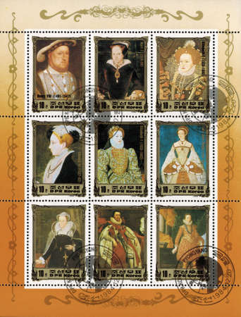 viii: postage stamp DPR KOREA - CIRCA 1984: mail stamp printed in DPR Korea featuring English monarchical dynasty: Henry VIII, Mary I, Elizabeth I, Edward VI, lady Jane Dudley, Charles I, circa 1984