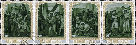 carrying the cross: Ras al Khaimah - CIRCA 1972: mail stamp printed in Ras al Khaimah the court, carrying the cross, crucifixion, descent from the cross and burial of Jesus Christ. Christian themes