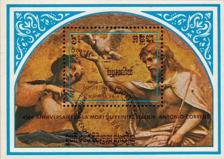 kampuchea: Kampuchea - CIRCA 1984: mail stamp printed in Kampuchea to the 450th anniversary of the Italian artist Antonio Correggio, a souvenir sheet with a reproduction of the Coronation of the virgin Mary. The painting of the conch of the apse, circa 1984 Editorial