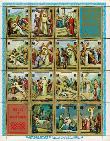 Ajman - CIRCA 1972: mail stamp printed in Ajman the court, carrying the cross, crucifixion, descent from the cross and burial of Jesus Christ Editorial