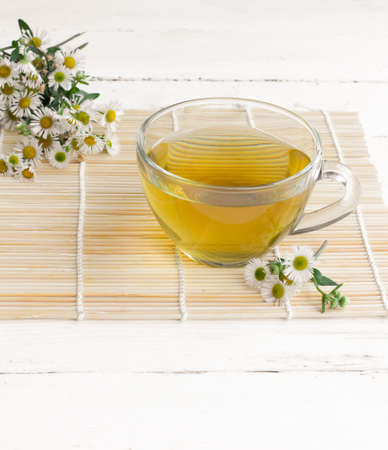 chamomile tea: chamomile tea in a transparent glass Cup on a bamboo Mat close up on an old white wooden table surrounded by fresh flowers of chamomile Stock Photo
