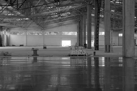 industrial premises in the construction process without people, in black and white Stock Photo