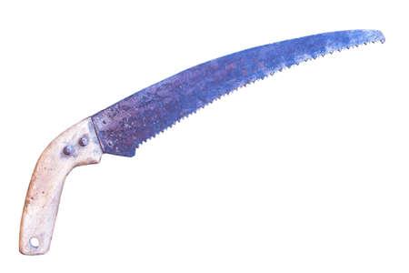 serrucho: vieja sierra de mano jard�n aislado en el fondo blanco