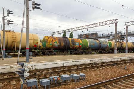 squad: Krasnodar, Russia - October 13, 2015 - Railway platform with a squad of tank-cars in the city of Krasnodar Stock Photo