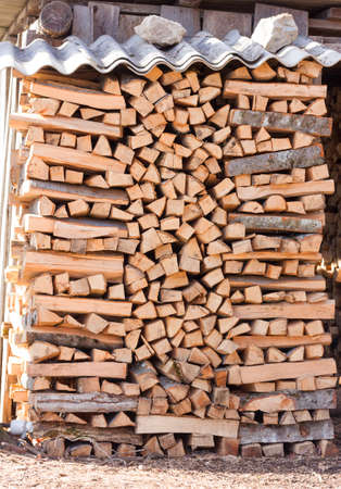 firebox: chopped firewood kiln and stacked in the woodpile