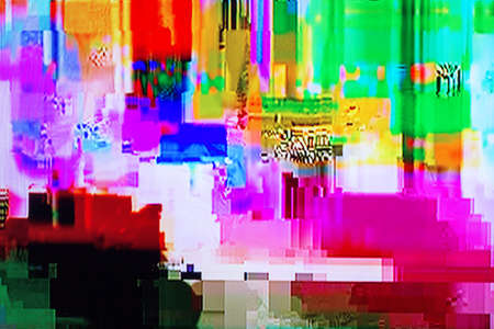 display problem: colorful abstract background texture. glitches, distortion on the screen broadcast digital TV satellite channels