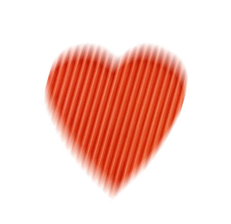 smeared: blurred offset abstract red heart with stripes isolated on a white background. the concept of love, Valentines day Stock Photo