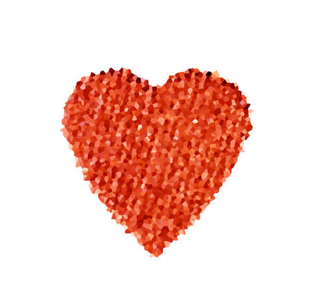 coarse: abstract red heart with polygonal mosaic on a white background. the concept of love, Valentines day