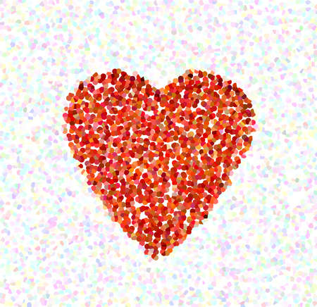 coarse: color abstract heart in the form of a molecular mosaic Stock Photo