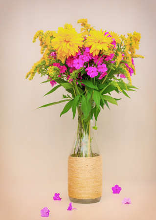 a bouquet of flowers of goldenrod, phlox and lilies in a glass bottle on a pink background. toned photo Stock Photo