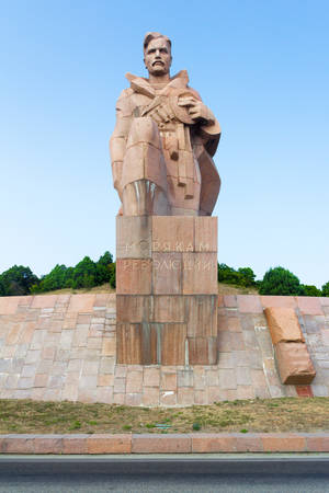 highway 3: NOVOROSSIYSK, RUSSIA - AUGUST 3, 2016: a monument to the sailors of the revolution near the highway in Novorossiysk city in summer, Russia.