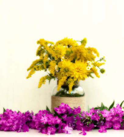 goldenrod: a bouquet of flowers chrysanthemums, goldenrod and daisies in a vase among the Phlox. tinted photo