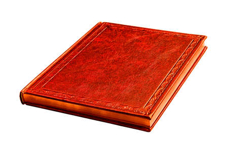 writ: red book with gold pages  isolated on white background