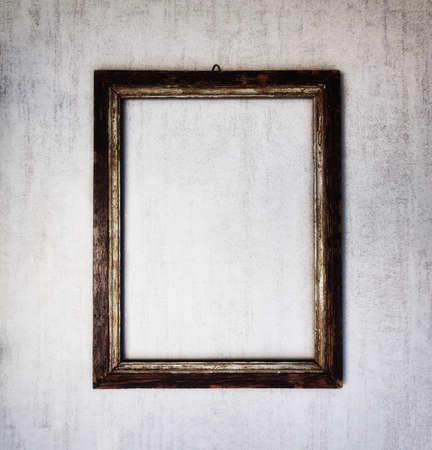tinted: old wooden frame on a gray grunge background. tinted image