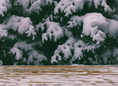 snowcovered: empty wooden table on a background of snow-covered trees, tinted photo