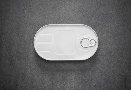 tinned goods: closed canned in a white oval box on a gray background, view from above Stock Photo
