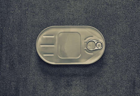 tinned goods: canned closed in an oval box on a gray background, view from above