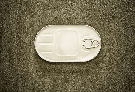 tinned goods: closed canned fish in a white oval box on a gray background, view from above