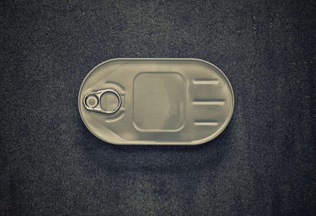 tinned goods: closed cans in the oval package on a gray background, top view