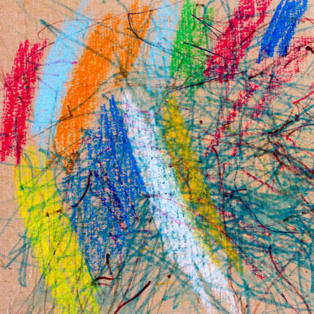 kids Doodle drawn on cardboard with crayons and pencils