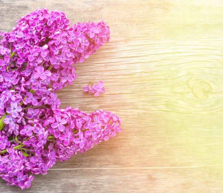 Bright spring background with a bouquet of lilac flowers on a wooden board in the golden sunlight, with space for text